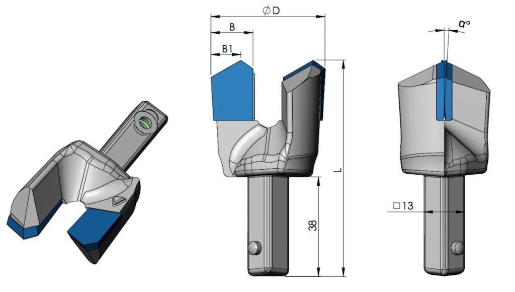 Datenblatt Drehbohrschneiden mit Vierkantangel - kurz